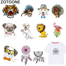 ZOTOONE Animal Patches Dog Tiger Dreamcatcher Sticker Iron on Transfers for Clothes T-shirt Heat Transfer Accessory Appliques F1