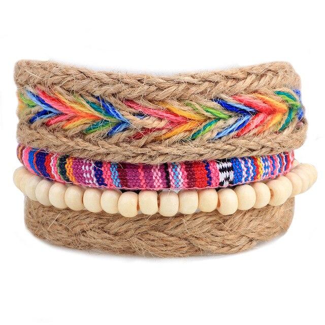 Handmade Color Hemp Bracelets For Women Net Elastic Rope Vintage