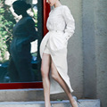 Nueva Mujer de La Manera Europea de Calidad Superior de 2017 Del Otoño Del Resorte Delgado Floral Gemelos Conjunto Blanco Floral Dos Piezas Set Outfit