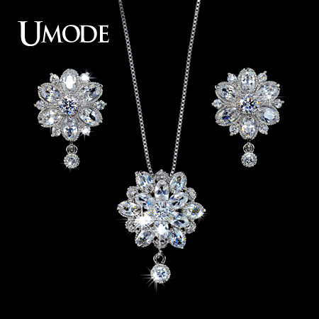UMODE Women Jewelry Sets Including 1 Pair Floral CZ Stud Earrings & 1 Flower Chain Pendant Necklace Made of CZ Stones US0016