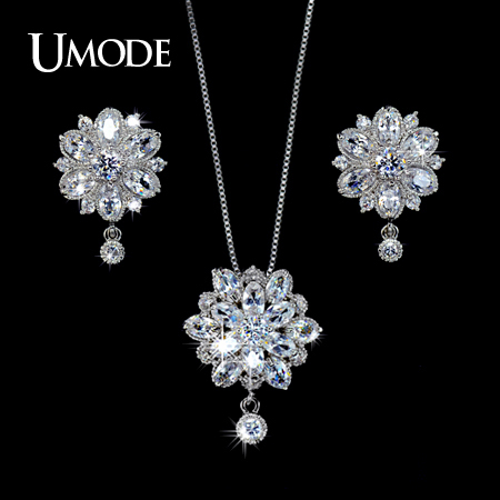 a3bf5d6d5 UMODE Women Jewelry Sets Including 1 Pair Floral CZ Stud Earrings & 1 Flower  Chain Pendant Necklace Made of CZ Stones US0016