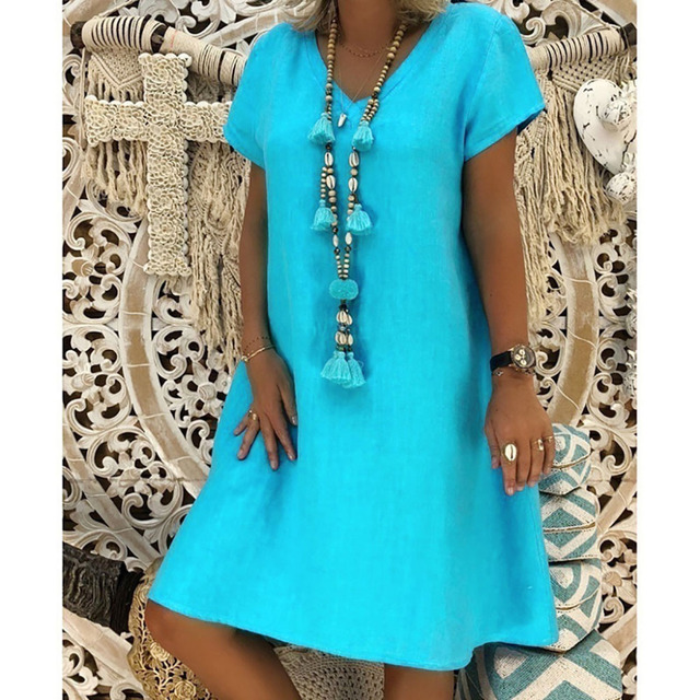 New Summer Casual V-Neck Short Sleeved Cotton Linen Dress Women Loose Plus Size Ladies Dress 5.23 3