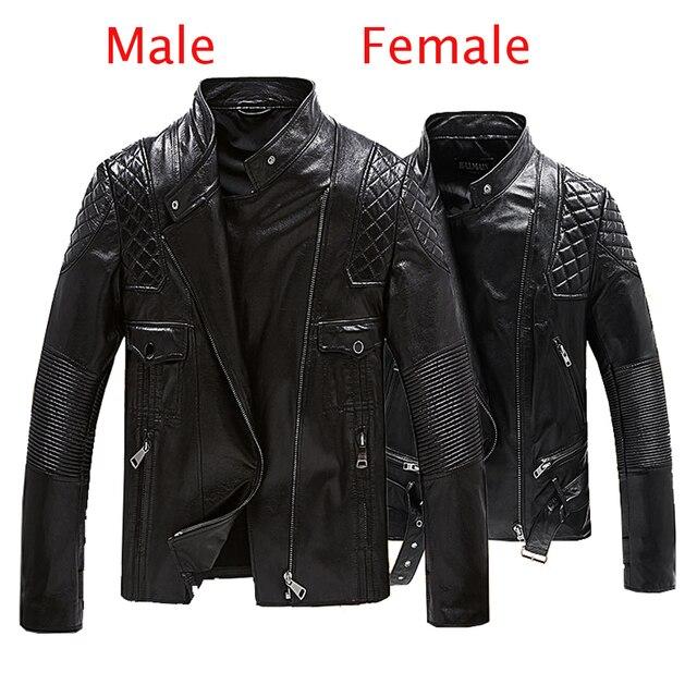 6910e2fd7dd9e Para Matching płaszcz ze skóry naturalnej odzież modna skórzana miłośników odzieży  wierzchniej płaszcz czarny motocykl kurtka