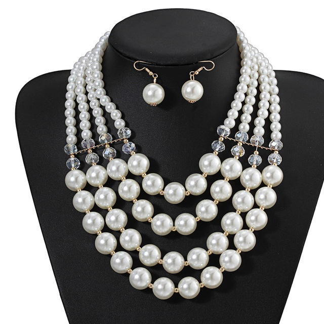 8bb74fa5cf3c5 US $6.99 |New Fashion 4 Multi layer Handmade White Pearl Necklace Set  Golden Earrings Pearls Crystal Jewelry Sets for Women Duftgold-in Jewelry  Sets ...