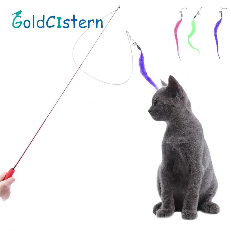Cute Design Cat Stick Flexible Extendable Pet Cat Toy Wire Feather Teaser Plush Flying Training for Cat 1pcs Color Randomly