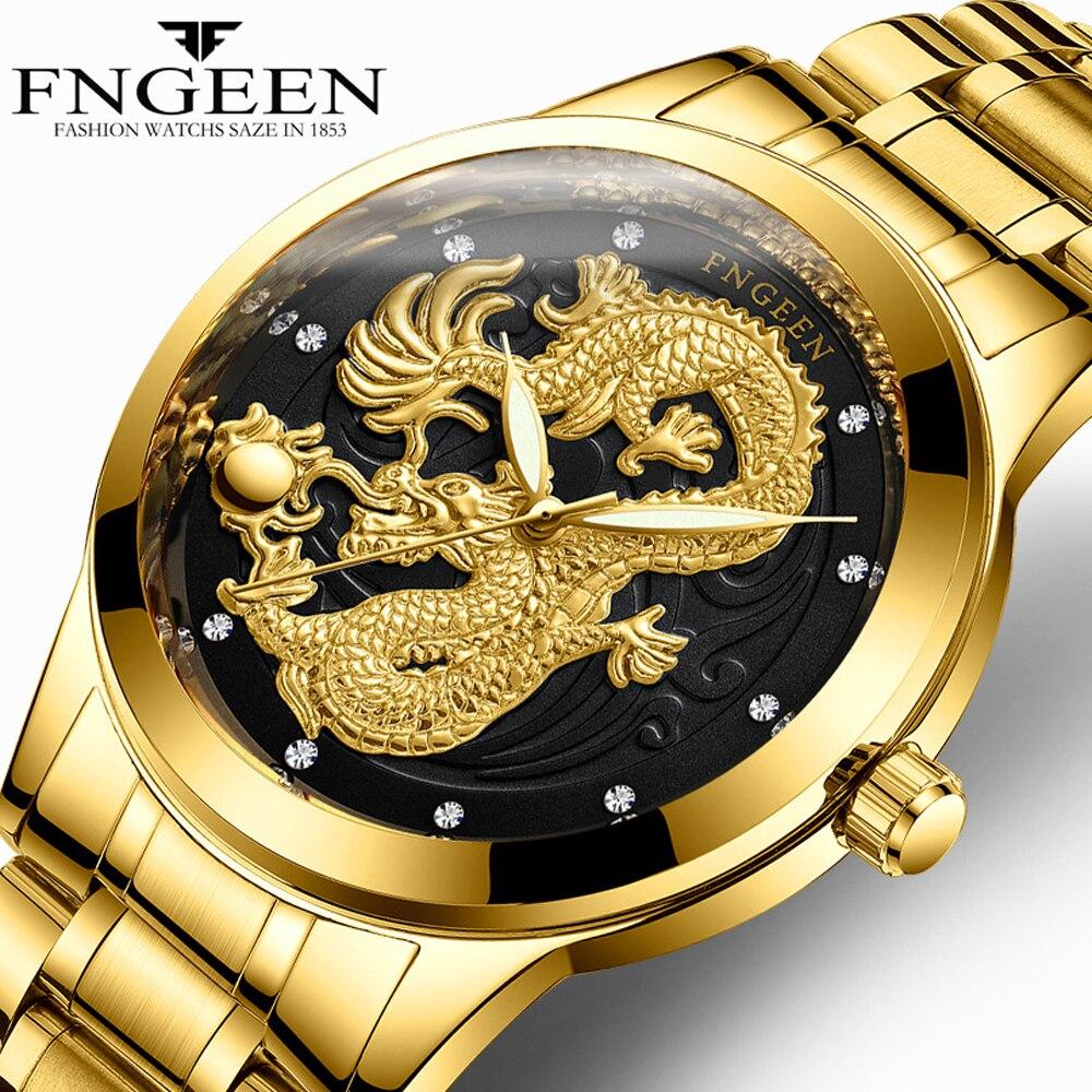 FNGEEN Uhr Mann 2018 Top-marke Luxus Gold Drachen Uhren Wasserdichte Quarz Armbanduhren Männlich Clock Hodinky männer uhr
