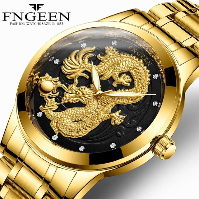 FNGEEN Watch Man 2018 Top Brand Luxury Gold Dragon Watches Steel Waterproof Quar