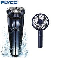 Flyco wet electric razor facial electric razor men's beard shaving machine rotating head +usb rechargeable handheld fan set comb