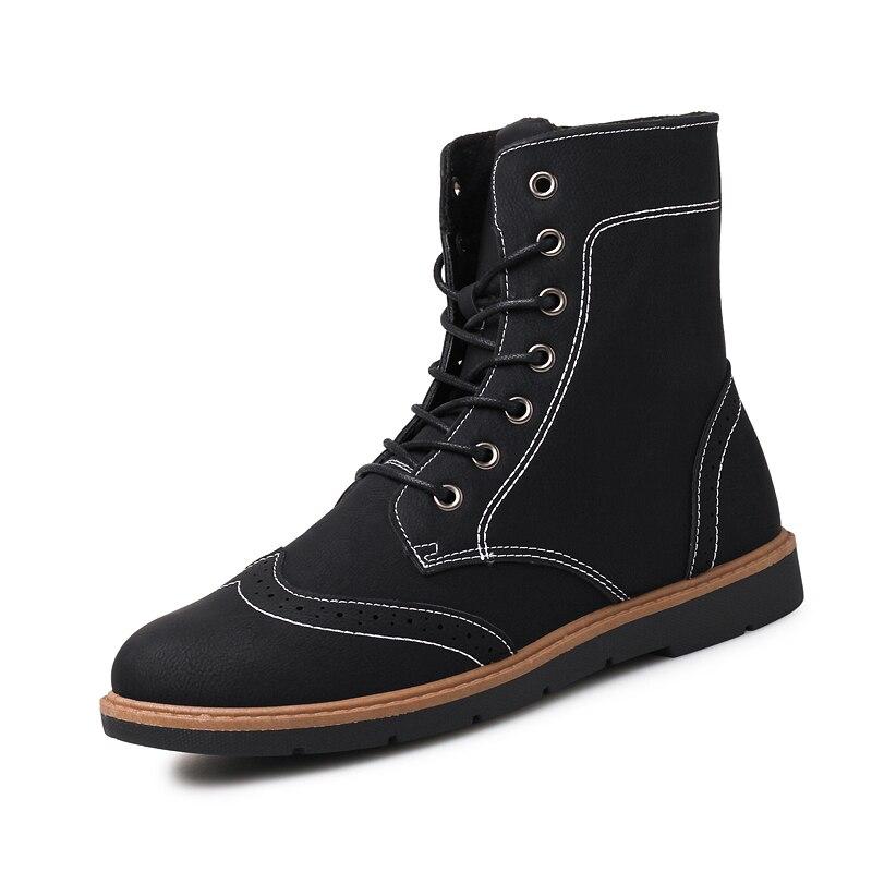 Luxus Mens Hohe Leder Stiefel Neue Mode Frühjahr Schuhe für Männer Bequeme Jungen Junge Casual Stiefel Wearable Kühlen männer schuhe - 3