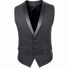 Suharybo черный Классический лоскутный искусственный шелк воротник мужской костюм жилет для мужской деловой одежды Кнопка Открытый Тонкий серый жилет