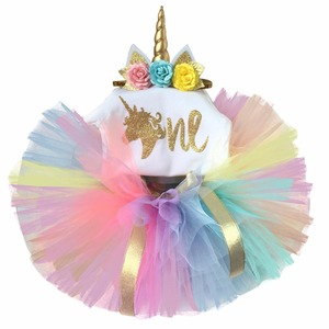 Baby 1 Year Birthday Sets Toddler Unicorn Party Dress Outfits Set Infant Christening Suits For Baby Girl Tutu Kids Clothes(China)