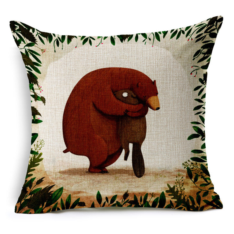 Cartoon Cushion Without Core Custom Cotton Linen Animal Decorative Throw Pillows 2016 Sofa Chair Cushions Home Decor 45*45cm