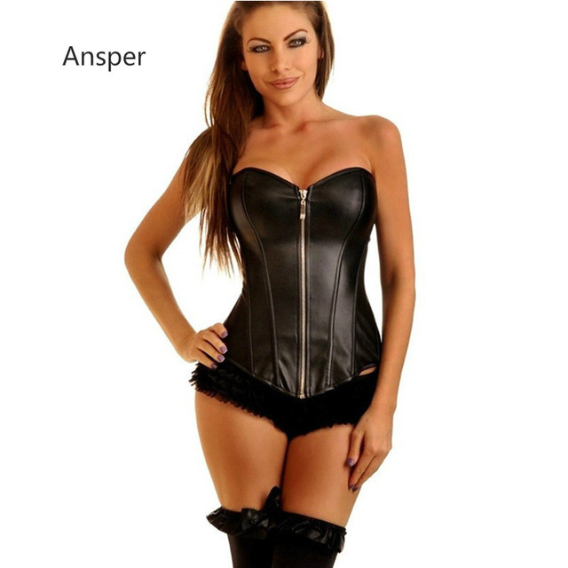 Fashion Trend Black Leather waist trimming corsets with zip push up steel boned underbust corset 5XL 6XL