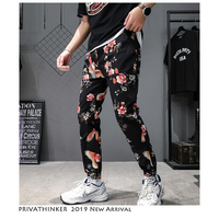 Privathinker Slim Pencil Pants 2019 Mens Japanese Streetwear Joggers Pants Male Fashion Floarl Print Sweatpants Black Track Pant