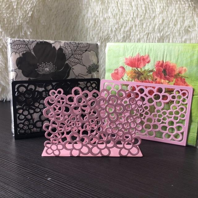 Belle Cadeau Fer Art Artisanat Noir Rose Fleur Serviette Papier