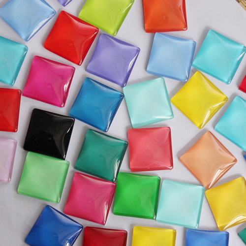 10mm 15mm 20mm 25mm Random Mixed Colorful Square Glass Cabochon Flatback Photo Base DIY Jewelry Making Accessory By Pair K02979