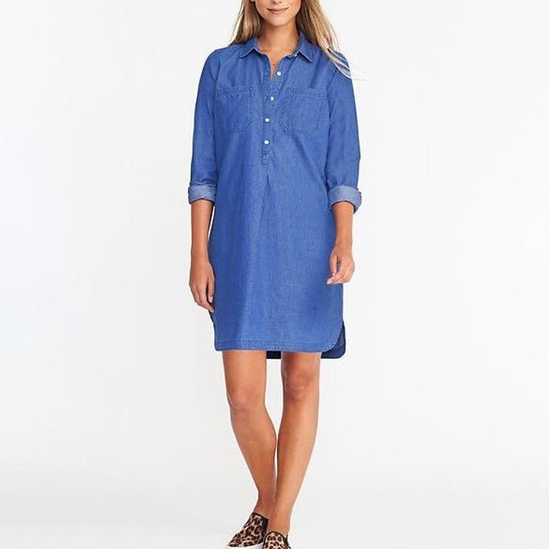 Women Denim Shirt Dress Plus Size2018 Spring Autumn Long Sleeve Sexy Mini Dress Casual Loose Ladies Elegant Jean Dresses S-5XL