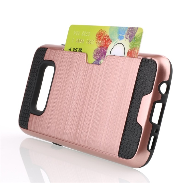 For Samsung Galaxy S7 Case Luxury Brushed Silicone PC Hard Case For Samsung Galaxy S8 Plus S7 Edge S7 S6 Card Slot Phone Cover
