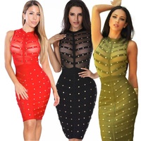 2017 women Sexy Round Neck Sleeveless See-Through Rivet Decoration Solid color Healthy Fabric Sheath Knee Length Dress