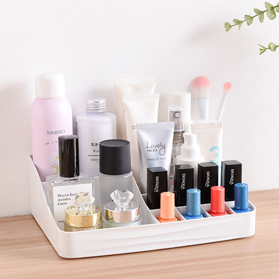 Small Large Makeup Organizer Plastic Storage Box Lipstick Brushes Holder Jewelry Box Cosmetic Case Make Up Organizers
