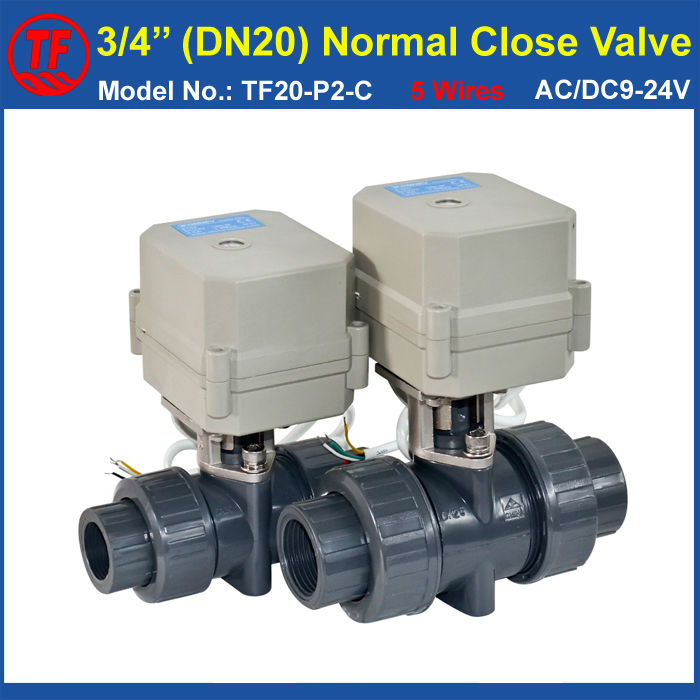 PVC DN20 Normal Close Valve AC/DC9-24V 5 Wires With Signal Feedback TF20-P2-C BSP/NPT 3/4''  10NM On/Off 15 Sec Metal Gear ac110 230v 5 wires 2 way stainless steel dn32 normal close electric ball valve with signal feedback bsp npt 11 4 10nm