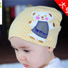 2015 new arrive Spring and autumn Korean style Bear label head cap sleeve labeling baby hat