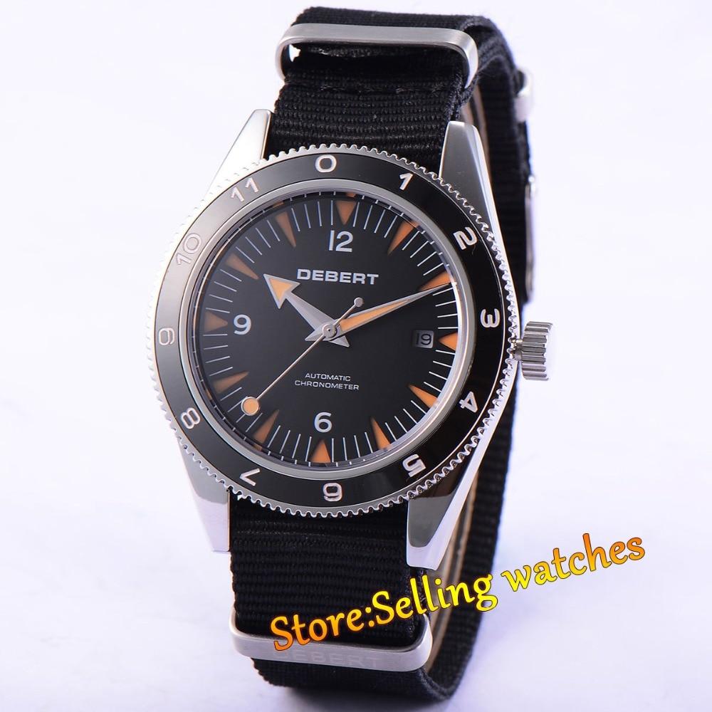 41mm debert black dial orange hands Black nylon strap 21 jewels miyota Automatic mens Watch brushless esc 5a 1s electric speed controller