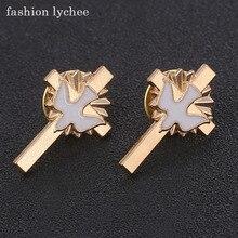 Модная эмалированная брошь-Крест lychee в стиле ретро золотого цвета с голубей и каплей, модные украшения в подарок для женщин и девушек