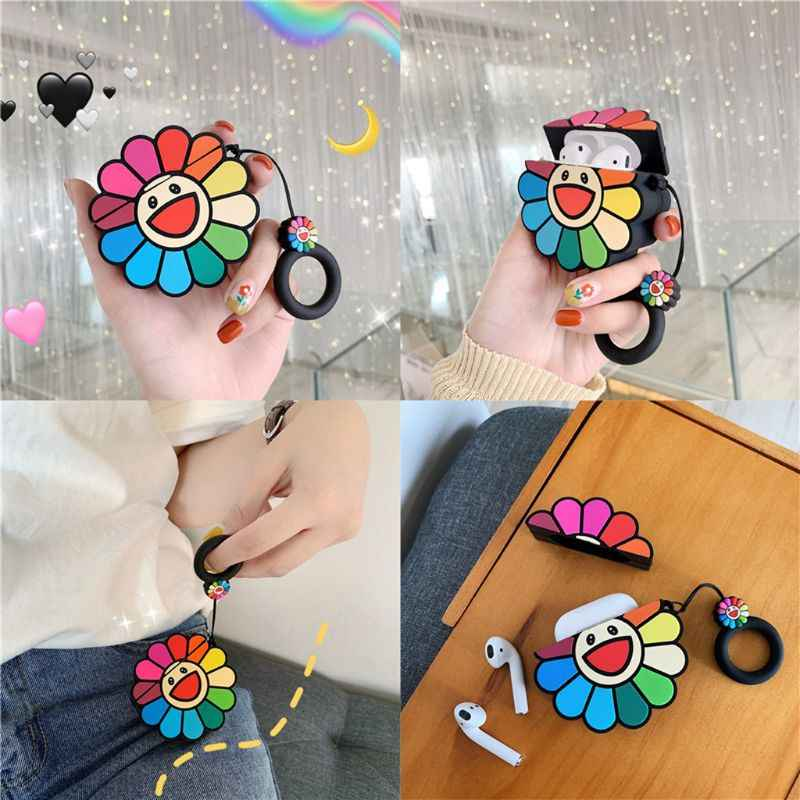 Fashion Cute Colorful Flowers Soft Silicone Protective Cover Shockproof Case Skin With Lanyard for Airpods 1/2 Charging Box
