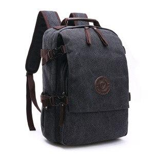 Image 4 - ผ้าใบคุณภาพสูงกระเป๋าเป้สะพายหลังผู้ชายสีทึบกระเป๋าแล็ปท็อป15.6นิ้วSuperior Vintageออกแบบกลางแจ้งทนทานแนวโน้มใหม่คลาสสิก