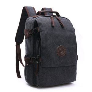 Image 4 - High Grade Canvas Backpack Men Solid Color Laptop Bags 15.6inch Superior Vintage Outdoor Design Durable New Trend Classic
