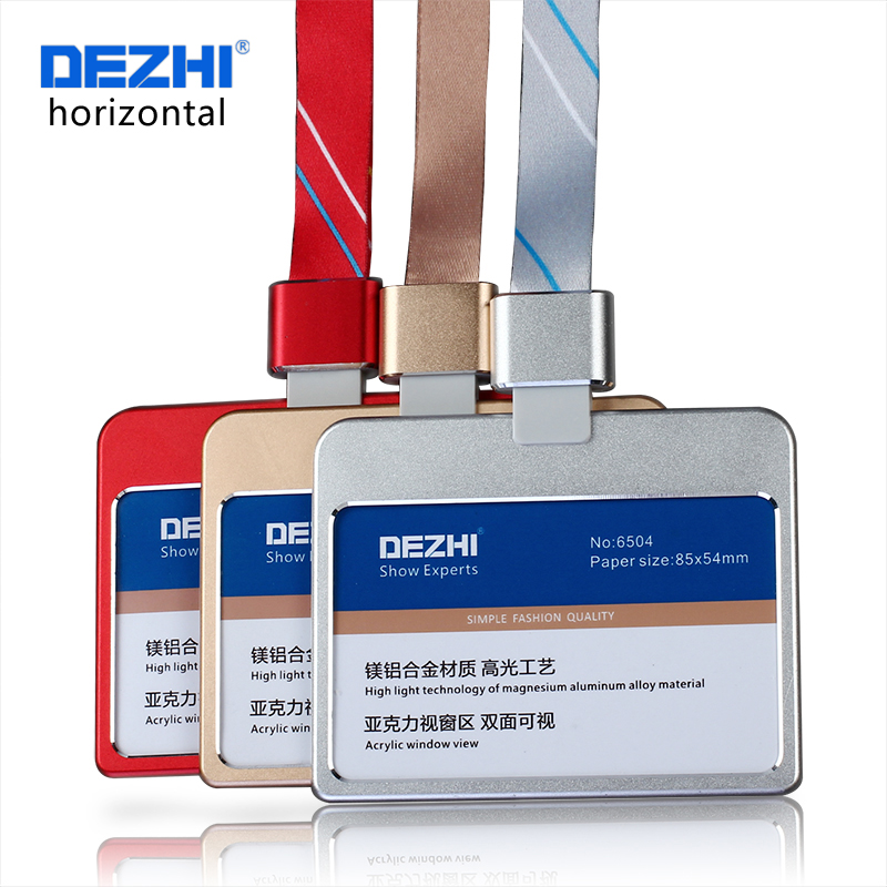 DEZHI Horizontal Style Bank Credit Card Badge Holder Metal Material Bus ID Card Holders With Lanyard Colorful and Fashion, OEM!