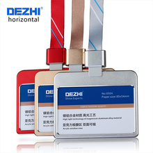 DEZHI Horizontal Style Bank Credit Card Badge Holder Metal Material Bus ID Card Holders With Lanyard