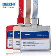 Получить скидку DEZHI-горизонтальная Стиль банк Кредитная карта значок металлический держатель Материал шины ID держатели с шнурки красочные и модные, OEM!