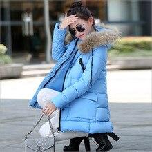 М-3XL плюс размер женщины длинные вниз куртка пальто куртки ватные моды большие карманы на молнии твердые меховым воротником женский пиджак верхняя одежда