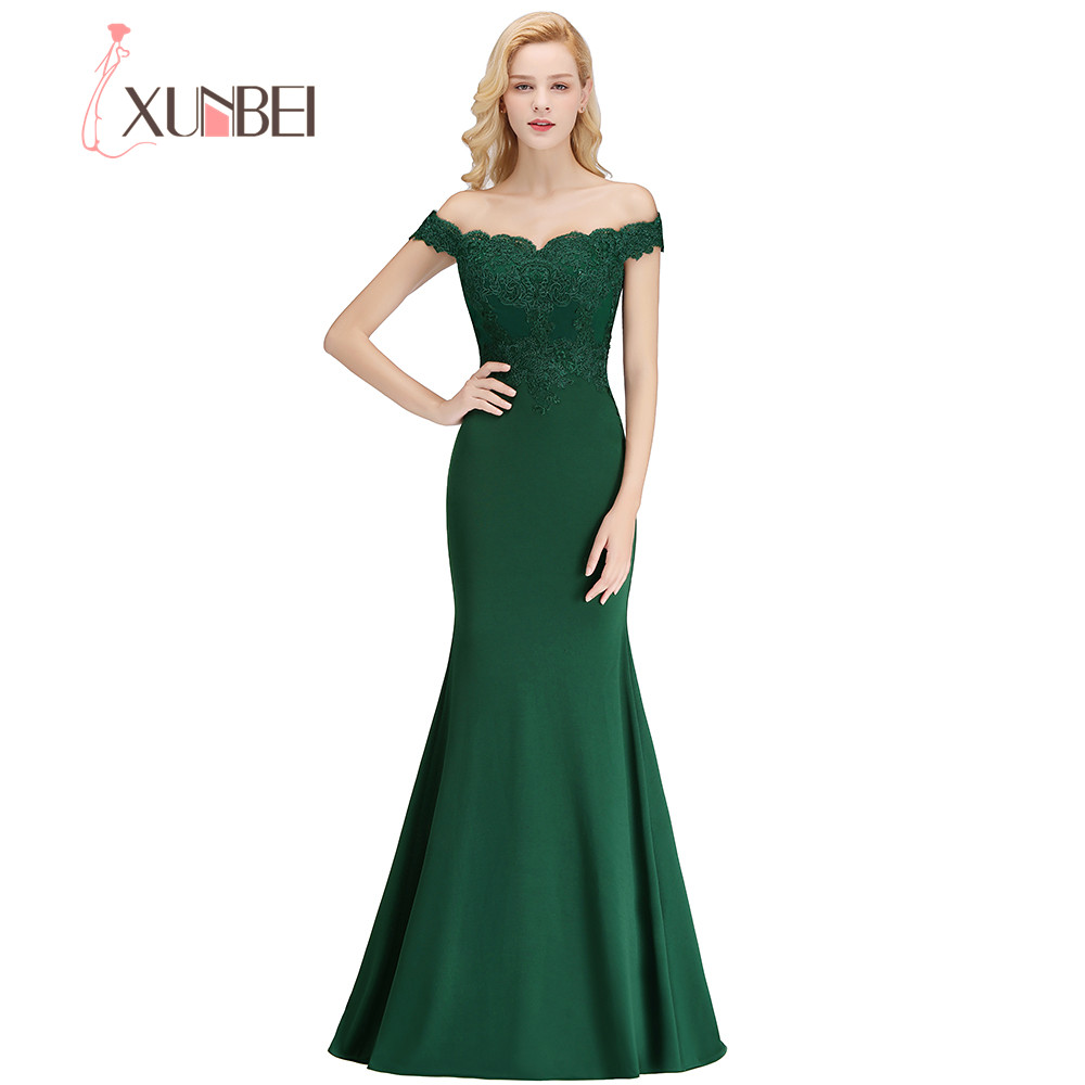 Xunbei Elegant Solid Color Sweetheart Floor Length   Bridesmaid     Dress   Lace Appliques Off the Shoulder Mermaid Wedding Party   Dress