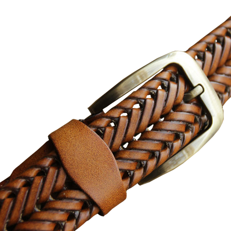 2016 New Braided Belt Man Fashion Mens belts luxury genuine leather Good Cow second layer skin straps men for Jeans girdle Male