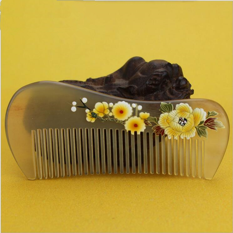 2017 Promotion Real Hair Care Natural Horn Comb of Health Handmade Print Flower Brush Hairdressing Pocket No Static Best Gift hair care hight quality real ebony black comb 1 piece health care hair styling tools hair brushes best gift