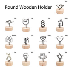 NEW 4CM Creative Round Wooden Note Picture Frame Clip Table Number Wedding Photo Holder Photo Clip Memo Name Card Pendant Holder(China)