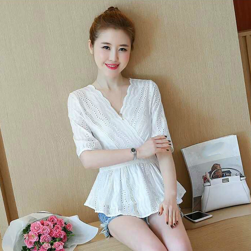 Women Blouse Autumn V neck Half Sleeve Solid White Shirts Slim Female Casual Hollow Out Ladies Tops in Blouses amp Shirts from Women 39 s Clothing