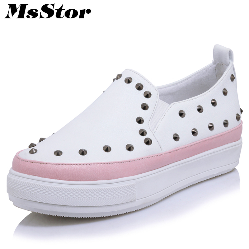 MsStor Round Toe Mixed Colors Women Shoes Casual Fashion White Women Flat Shoes 2018 New Spring Rivet Women Flats Loafers Shoes cresfimix women cute spring summer slip on flat shoes with pearl female casual street flats lady fashion pointed toe shoes