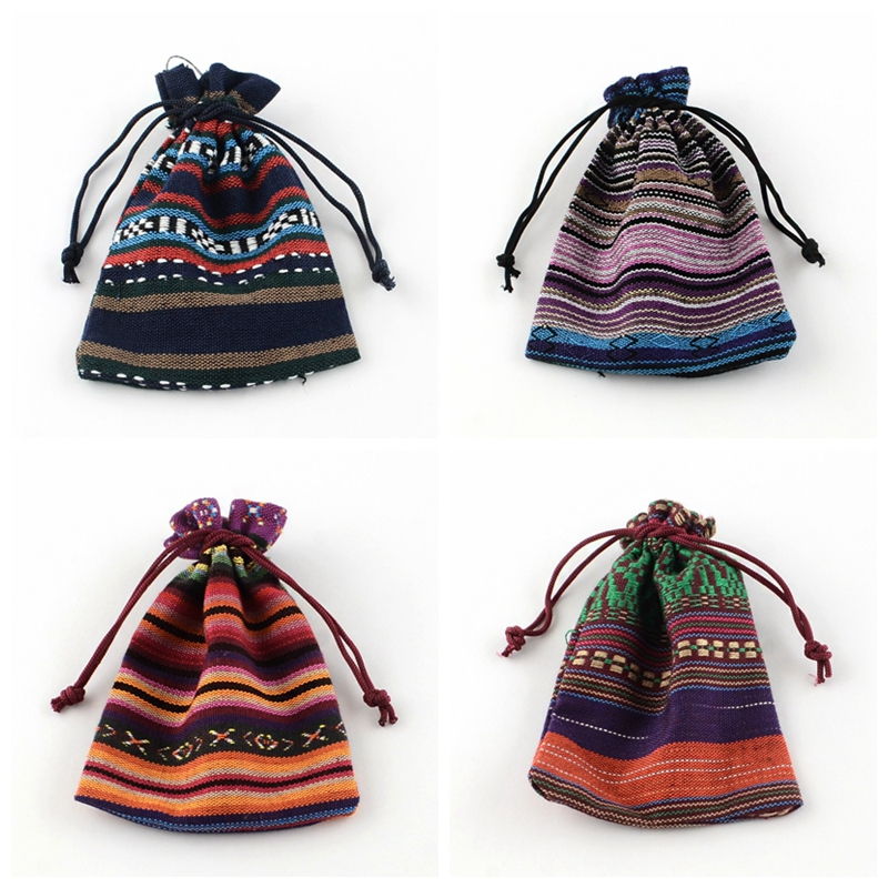PandaHall 5pc 14x10cm Ethnic Style Cloth Packing Pouches Drawstring Bags, Rectangle