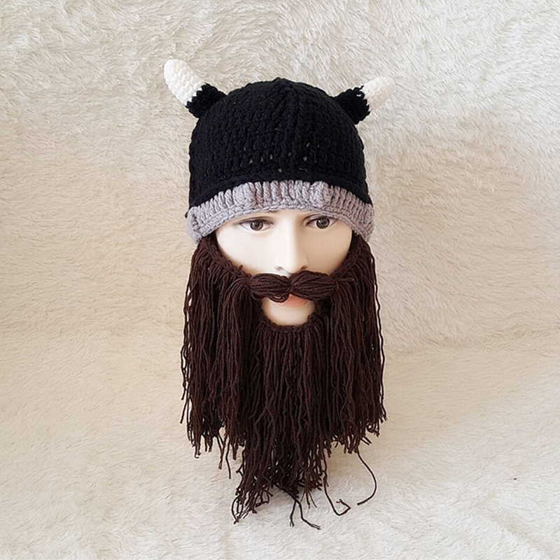 d99102ff58f New fashion Halloween personality Viking hat Beard hat Horn hat Autumn and winter  models-in Skullies   Beanies from Men s Clothing   Accessories on ...