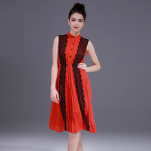 Women Dress Summer 2017 Spring New Arrive casual Lace Dresses for women noble patchwork pattern dress female beautiful ZY1728L