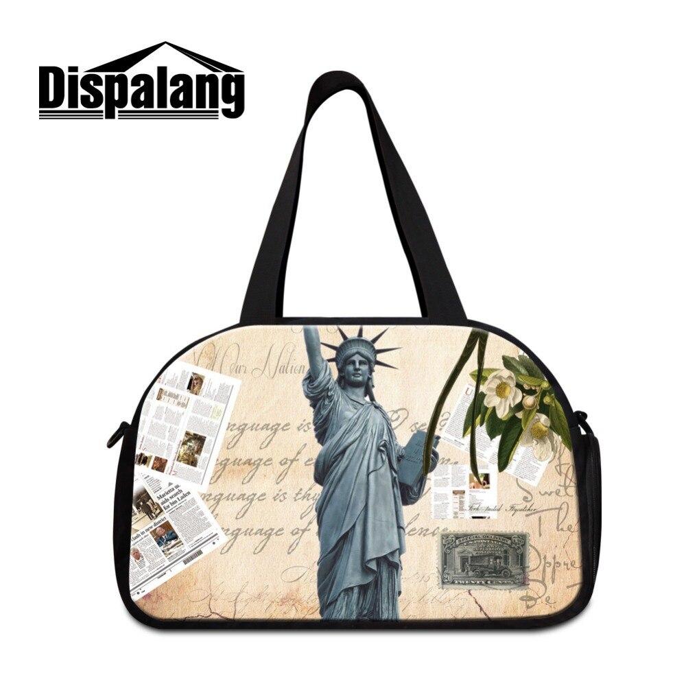 Dispalang Landscape Shoulder Travel Bags for Women Lightweight Garment Bag Statue Of Liberty Duffle Bag Luggage Sets for Girls