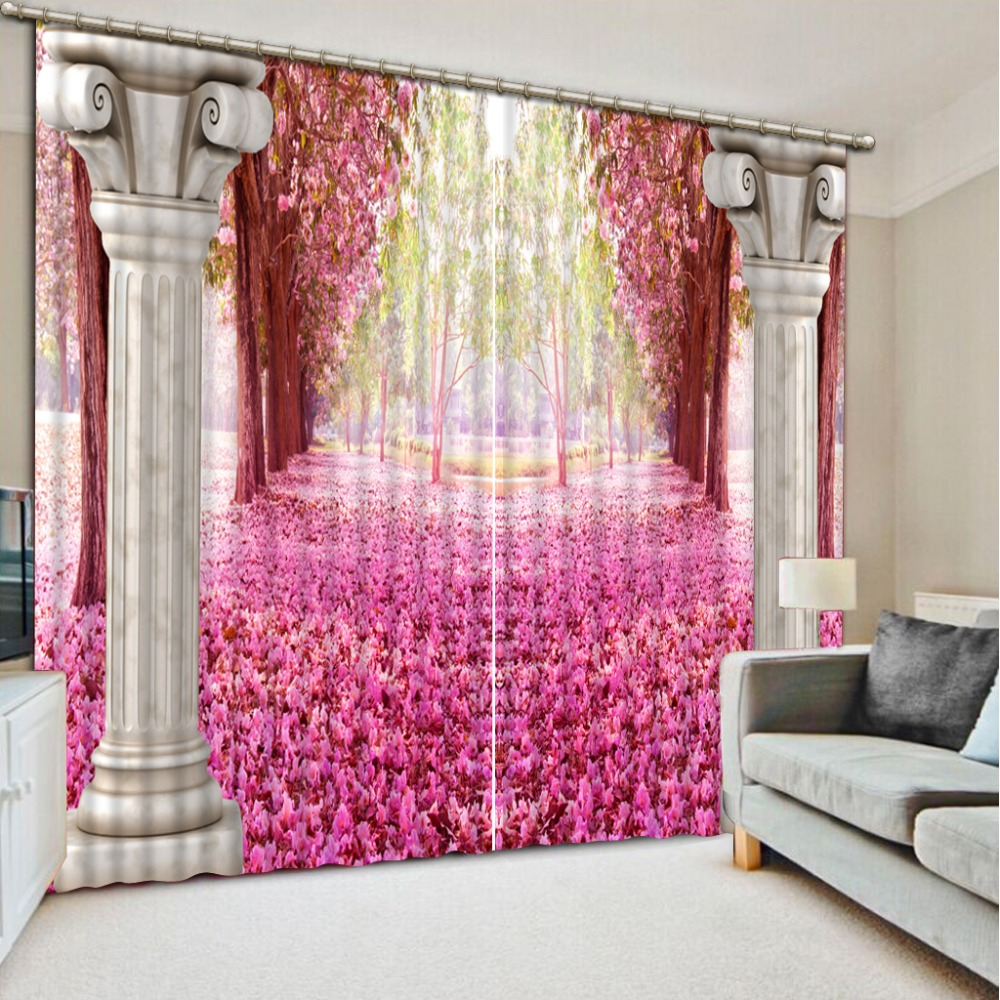 Luxury Blackout 3D Window Curtains For Living Room Bedroom Customized Size Roman Pink Curtains