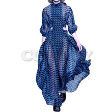 CUERLY New 2019 Designer Runway Dress Womens 3/4 Sleeve Geometric Printed Waist Hollow Out Holiday Casual Long Dresses