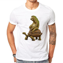 100% Cotton Funny Sloth Sea Turtle Men T Shirts Fashion Casual Tops Animal Printed T-Shirt White Tee Short Sleeve Plus Size 3XL(China)