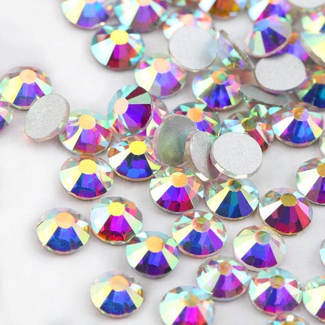 QIAO Glitter Rhinestones Crystal AB SS3-SS40 Non Hot Fix FlatBack Strass Sewing & Fabric Garment Rhinestone Nail Art Stone 3
