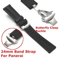 New Waterproof Rubber Watchbands Diver Silicone Black Men S Strap 22MM With Butterfly Clasp Buckle For